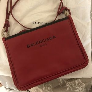 Balenciaga logo leather crossbody bag